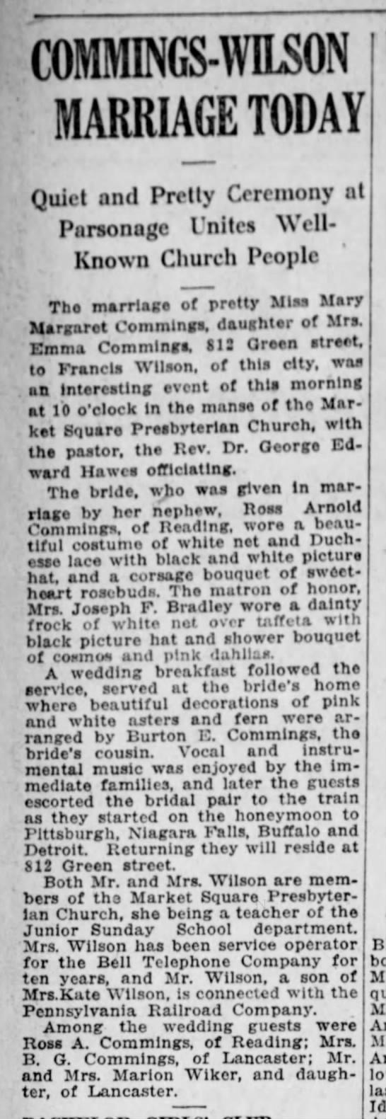 Great Grandparents Wilson wedding announcement -