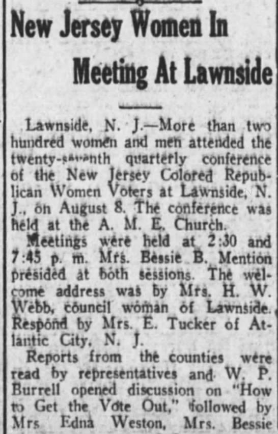 NJ Women Meet in Lawnside - El Paso HeraldEl Paso, TexasTuesday, September 6, 1927 -