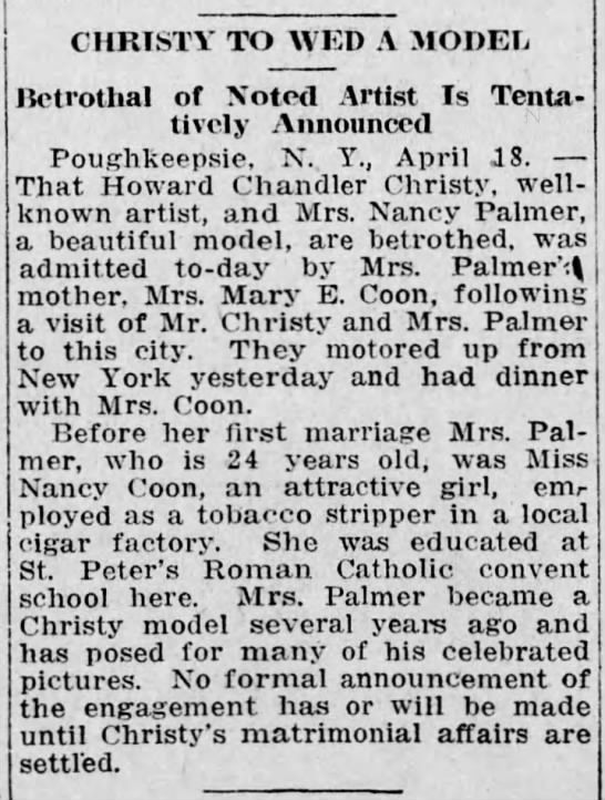 1916 Howard Christy announces betrothal to model Nancy Coon Palmer -