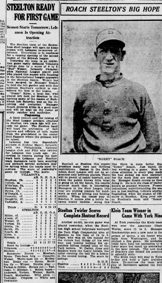 Roach Steel League May 7, 1920 -