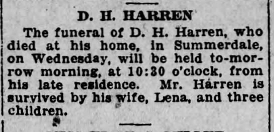 Harrisburg Telegraph 14 Feb 1920 D. H. Harren -