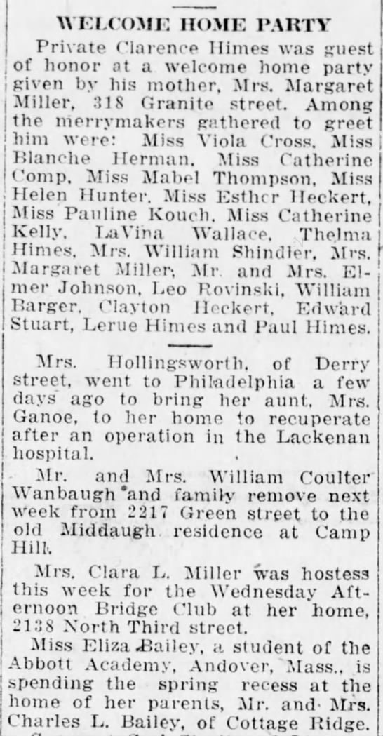 1919 Miss Mabel Thompson attends welcome home party for Pvt Clarence Himes -
