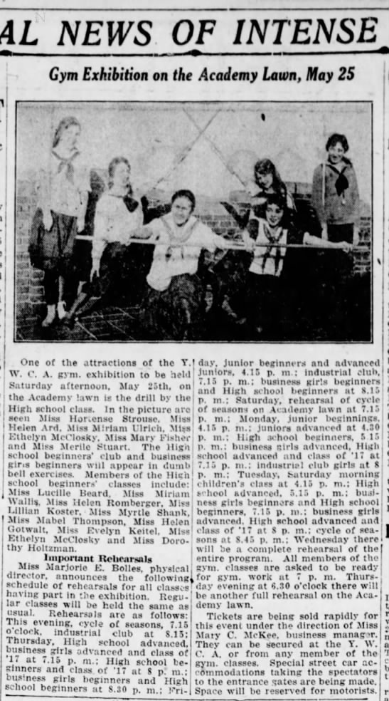 1918 Mabel Thompson in gymnasium beginner's club at YWCA -