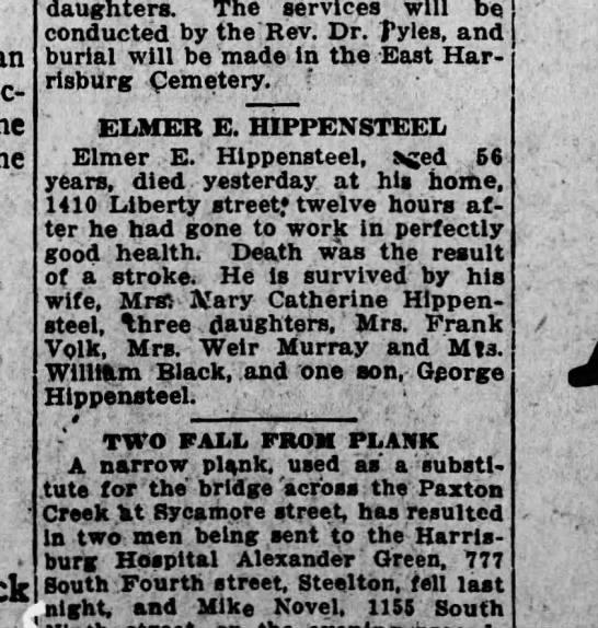 1919 September 16 Harrisburg Telegraph Elmer E. Hippensteel -