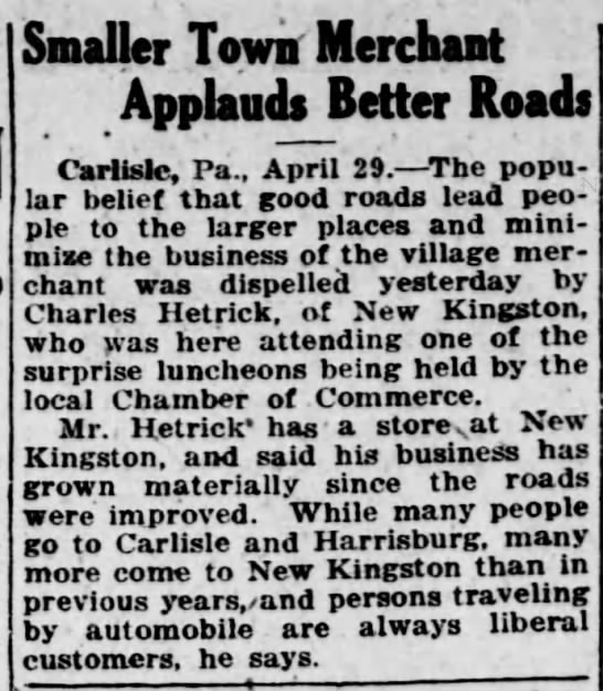 shopping in NK - better roads influence customer base. Hbg Telegraph 4.29.1922 p16 -