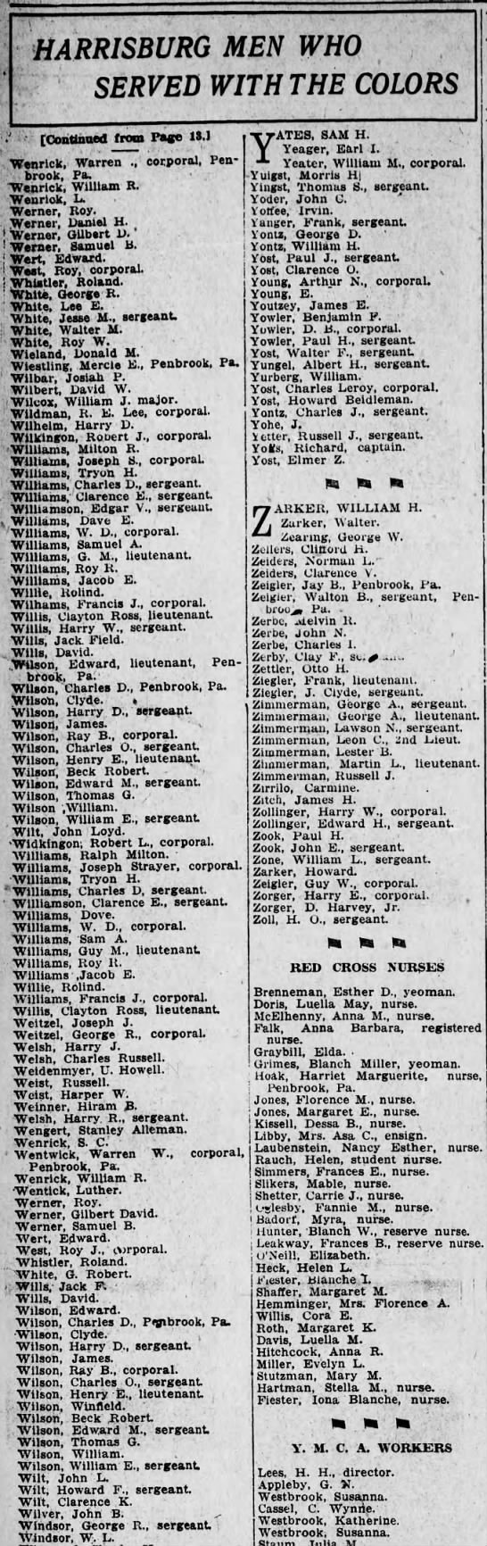 1919 Harrisburg Men Who Served with Colors: 2 John LLoyd Wilts with Clarence Wilt  pg2 -