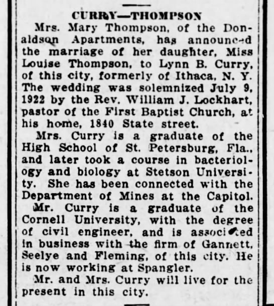 1922 July 11 Curry Thompson wedding announcement -