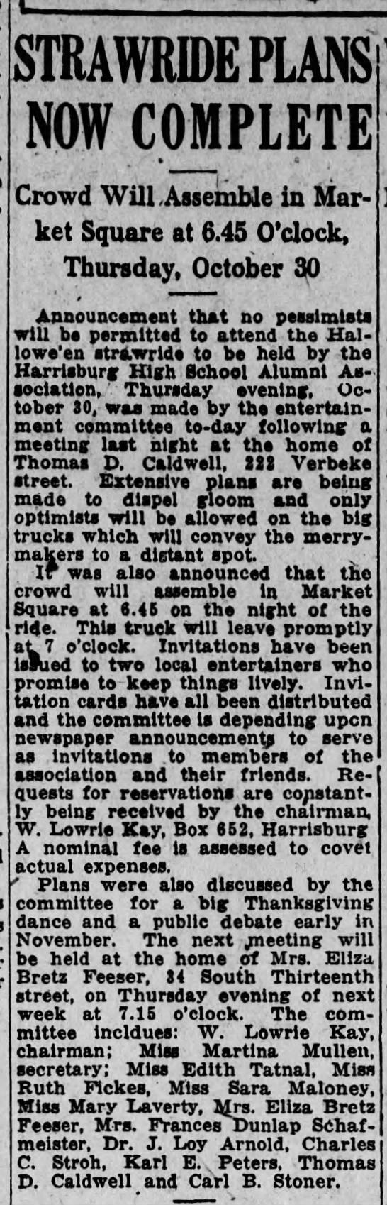1919 Mrs Eliza Bretz Feeser hosts next Hbg HS Alumni mtg at her home -
