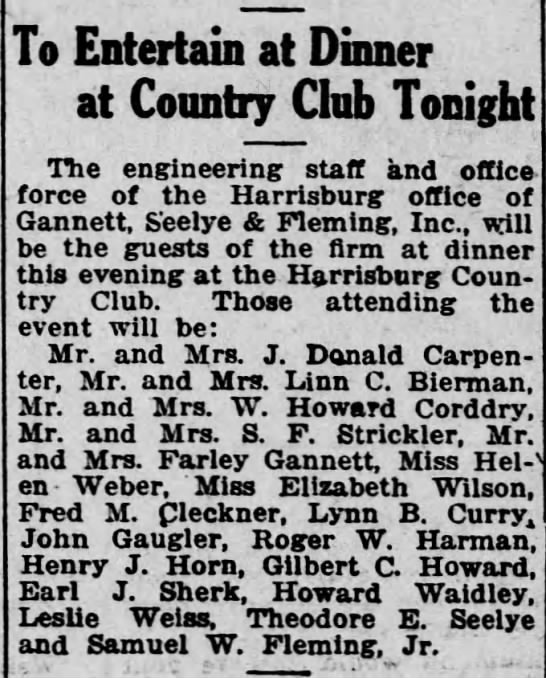 1920 Lynn Curry Sr of Gannett Fleming guest at country club dinner -