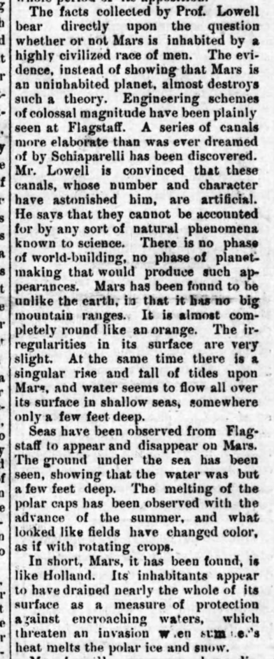 Lowell's observations of Mars canals seems to be evidence that Mars is inhabited, 1895 -
