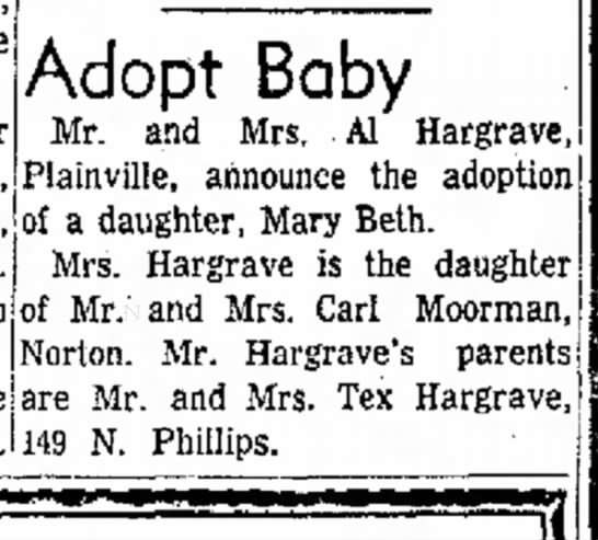 Mary Beth Birth Announcement - the s . Adopt Baby Mr. and Mrs. Al Hargrave,...