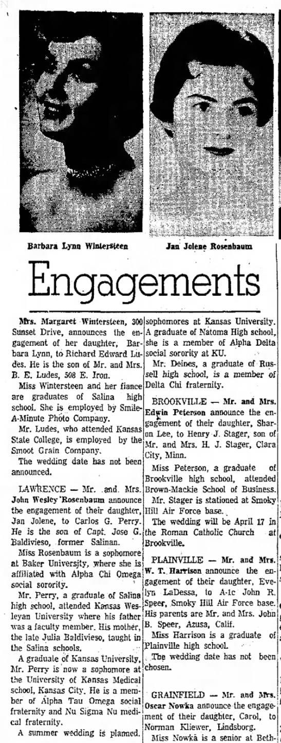 Rosenbaum-Perry engagement announcement -