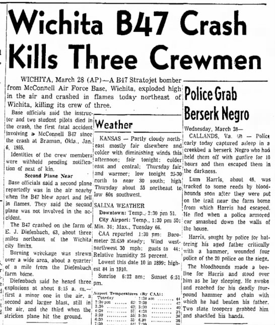 Wichita B47 Crash Kills Three Crewmen -