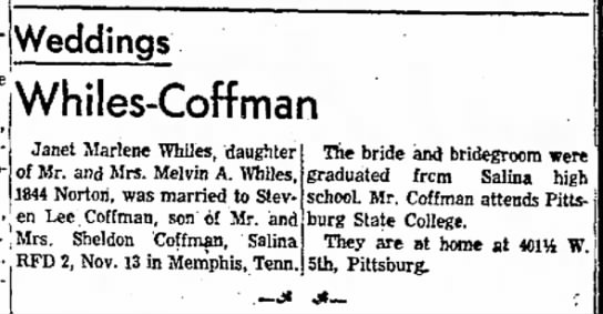 Melvin A. Whiles' daughter marries -