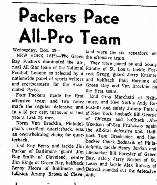 Packers Pace All-Pro Team -