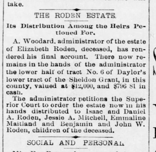 The Record-Union 12 Dec 1894 Heirs of Elizabeth Roden -