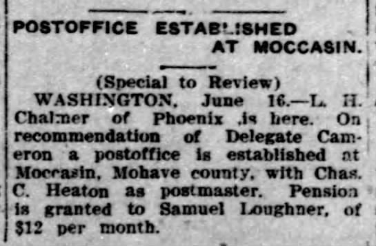 Charles C Heaton Postmaster in Moccasin -
