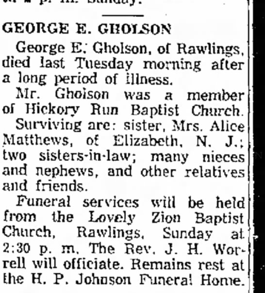 George E. Gholson Obit 28 Jan 1960 -