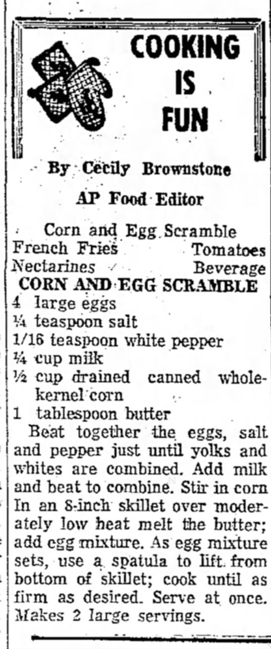 Corn & Egg Scramble - By Cecfly Brownstone AP Food Editor • Corn and...