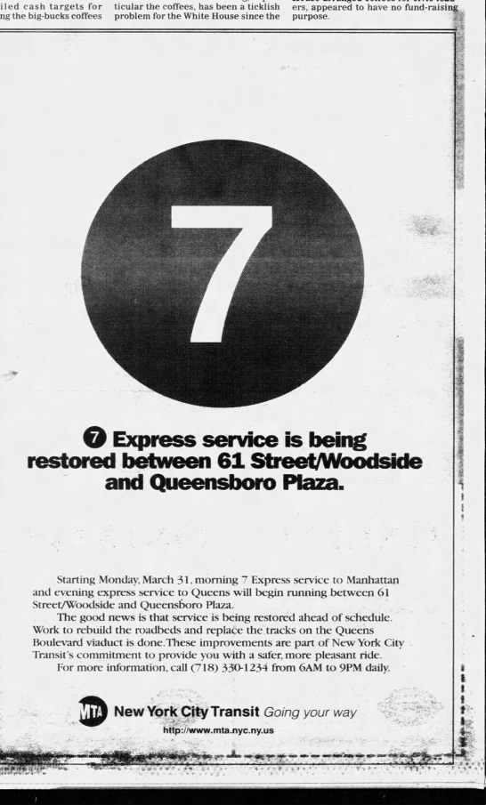 Restoration of 7 Express Between Woodside and Queensboro Plaza -