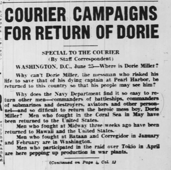 Courier Campaigns for Return of Dorie -