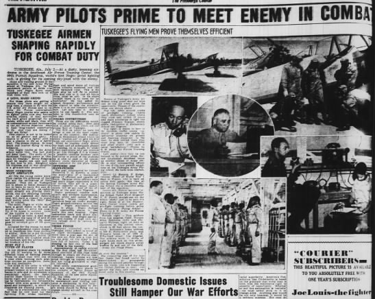 Article and photos about training for the Tuskegee Airmen -