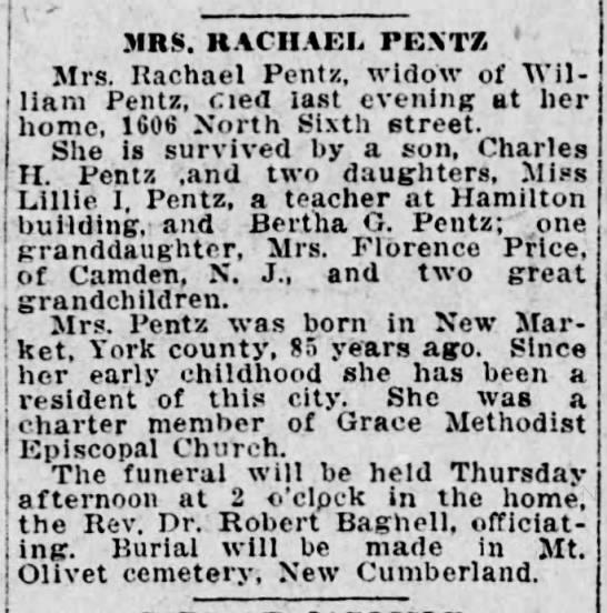 MRS. RACHAEL PENTZ, 1923 -