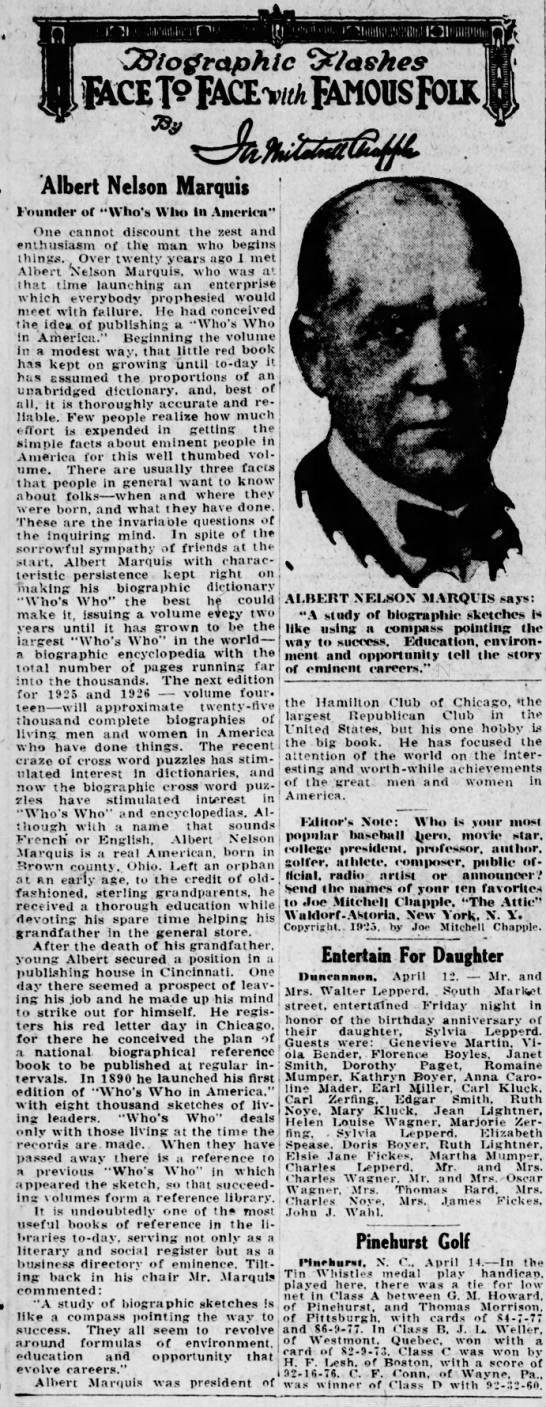 Albert Nelson Marquis newspaper interview -