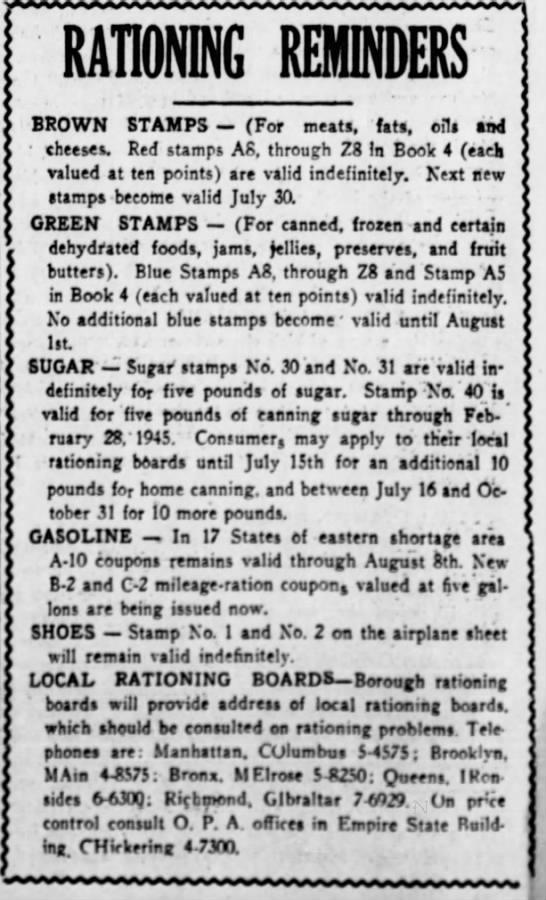 Rationing stamp reminders (1944) -