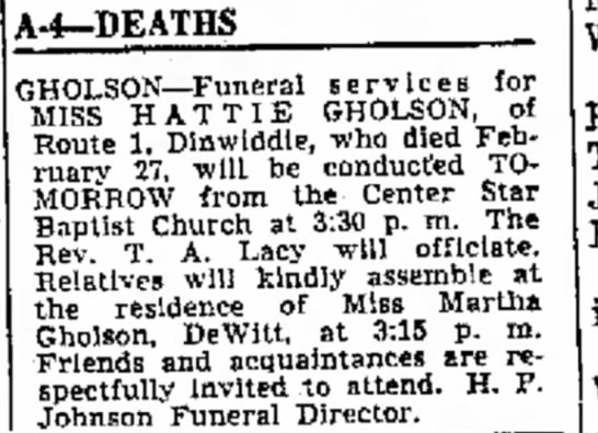 Hattie Gholson Obit 3 March 1966 -