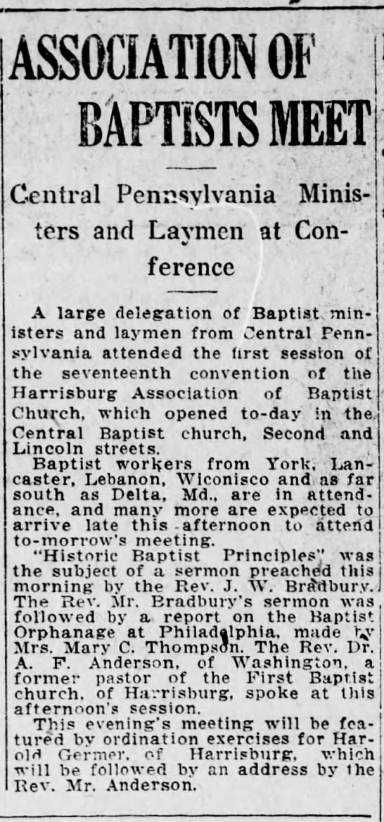 1921 Mary C Thompson reports on Phila. orphanage to Hbg Assoc of Baptist  churches convention -