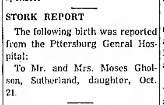 Moses Gholson birth announcement 23 Oct 1959 -