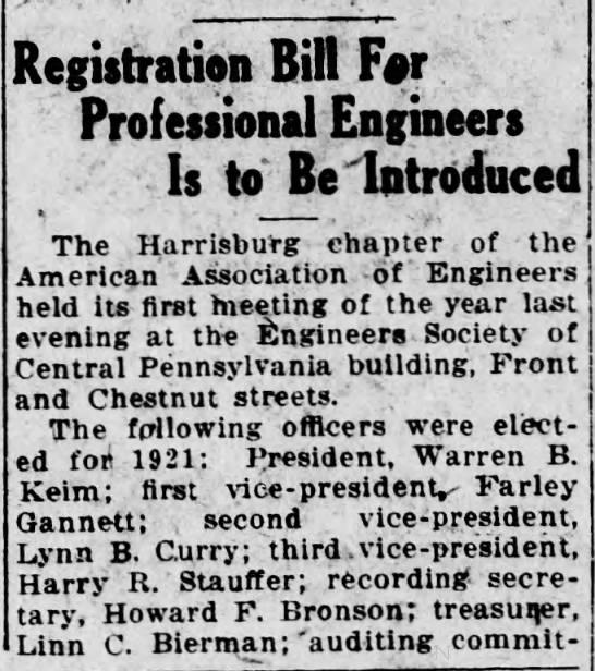 1921 Lynn Curry Sr second VP of AAE -
