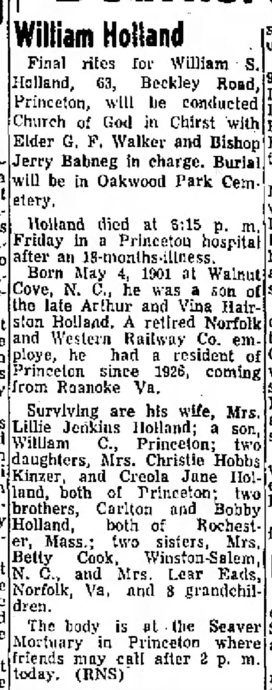 William S Holland obit son of Arthur & Vina Hairston Holland 3May 1964 -