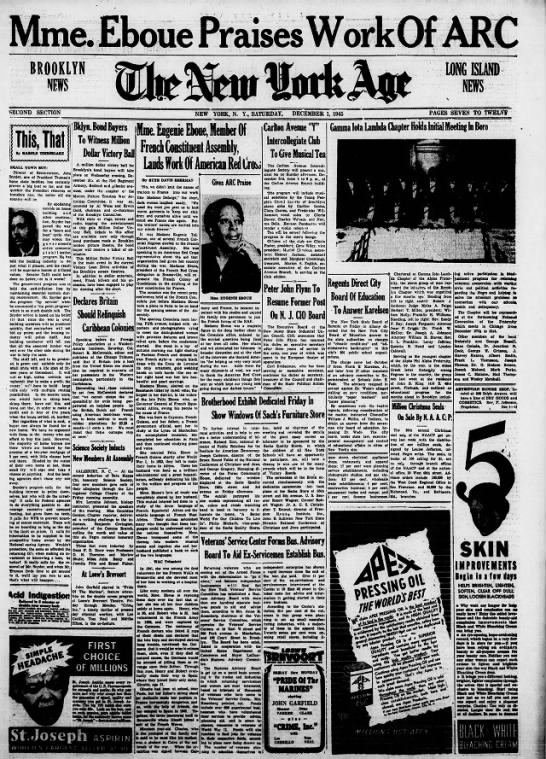 Eugenie Eboue-Tell in NY New York Age Dec 1, 1945, p. 7 -