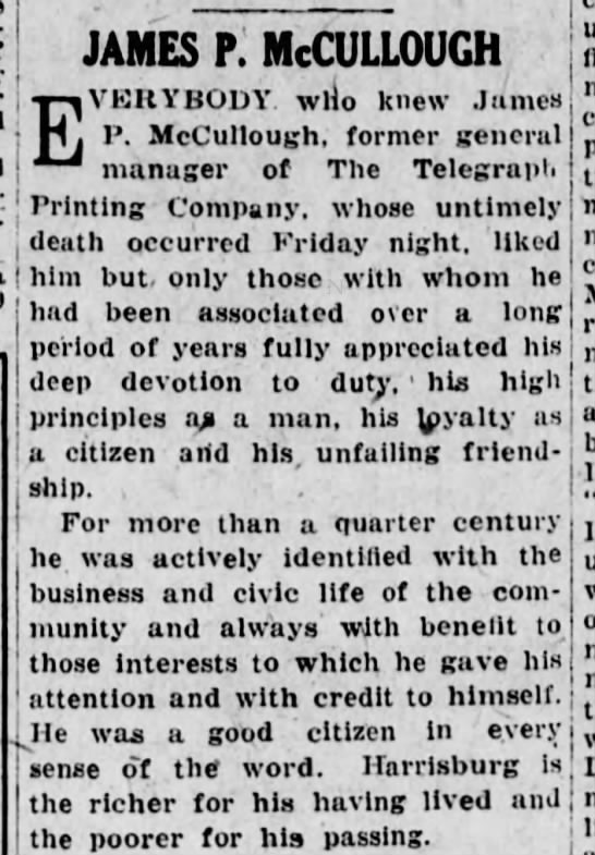 James P. McCullough 6/15/1925 Harrisburg Telegraph -