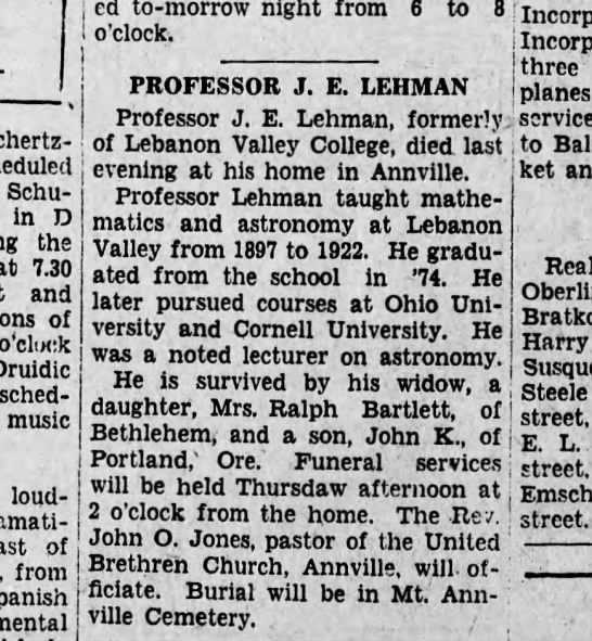 1928 August 28 Death of Prof. Lehman - loud - dramati - of Schertz - scheduled...