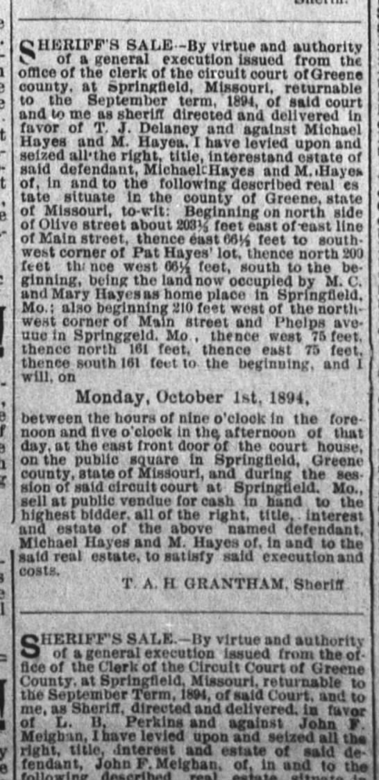 Michael Hayes/sheriff's sale in Springfield Leader 8 Sept 1894 pg 5 -