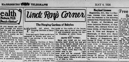 1926 May 4 Harrisburg Telegraph -