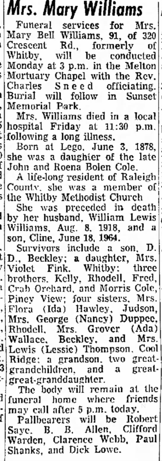 Roena Bolen Cole and John Cole's daughter obituary - a a 45 Union D., Mrs. and of Mrs. Mary Williams...