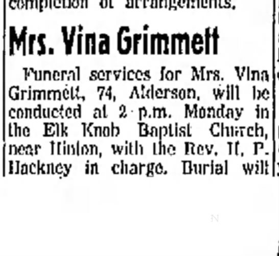 Savina Thompson obit1 - completion ot arrangements. Mrs. Vina Grimmelf...