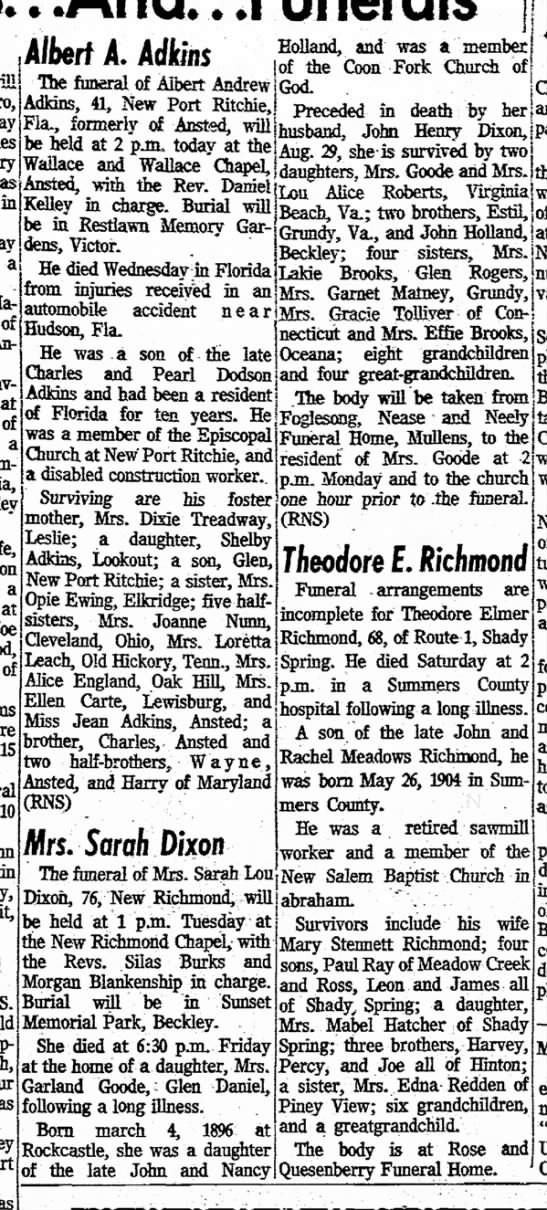 Sarah Dixon Holland obit w/o of John Henry Dixon, d/o John & Nancy Holland 10 Dec 1972