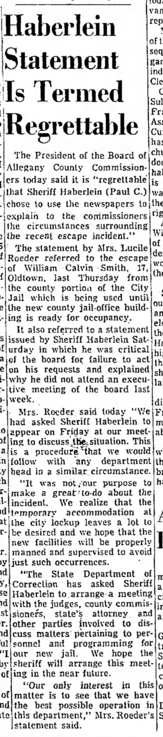 - Haberlein Statement Is Termed Regrettable The...
