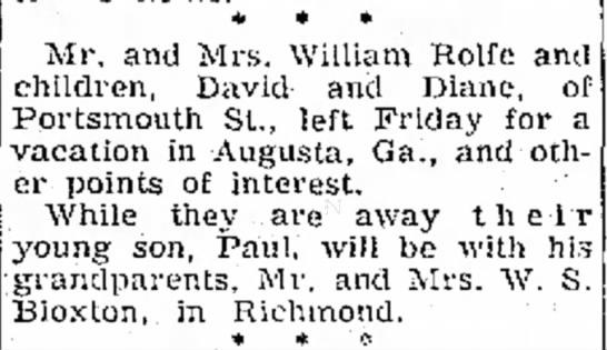 The Progress-Index (Petersburg, VA) - May 27, 1956 - pg 26 - M/M Bill Rolfe have 3 kids now -