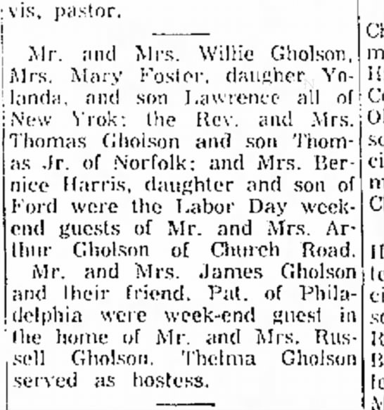 Willie Gholson Labor Day guests 14 Sep 1960 -