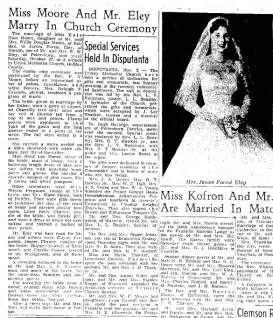 Eley3 - Miss Moore And Mr. Eley Marry In Church...