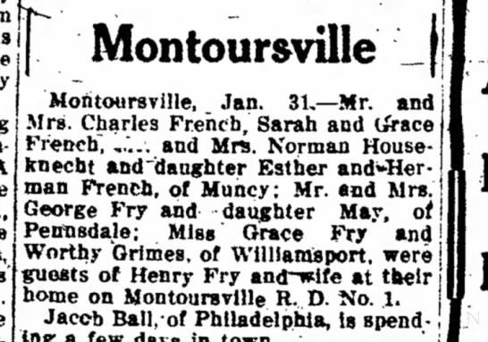 "French family connections - j I while I stay nesttiie Montoursville ""A see..."