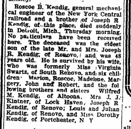 Obit: Kendig,Roscoe B...Williamsport Sun-Gazette (Williamsport, PA) 12 May 1917, Sat, Page 4 -