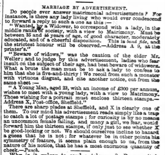 Criticism of marriage advertisements, 1862 -