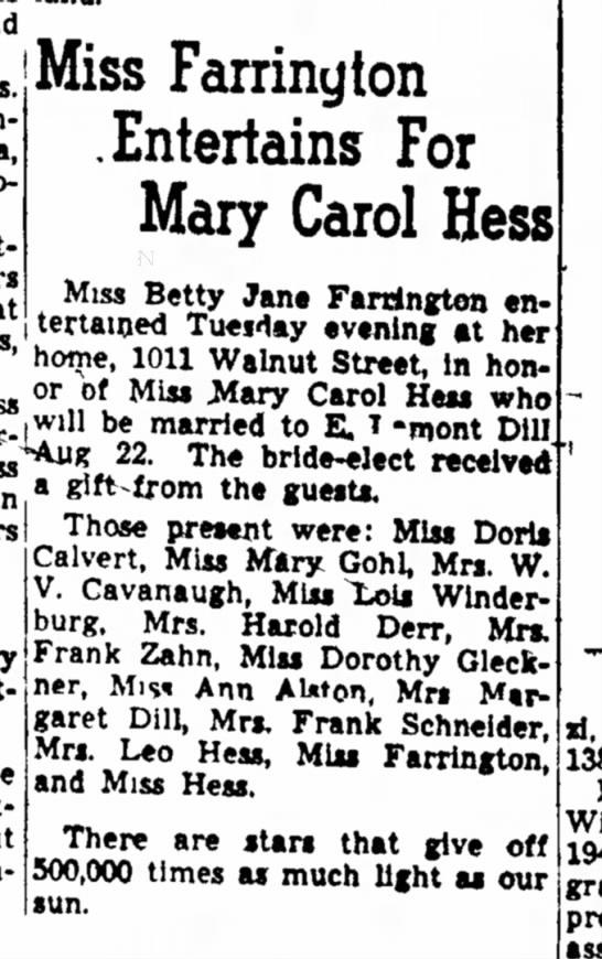 Mary Carol Hess 1946 -